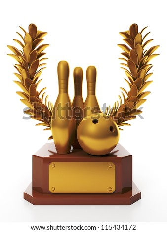3d illustration: Awarding the highest reward. Bowling ball and skittles and Cup Gold - stock photo