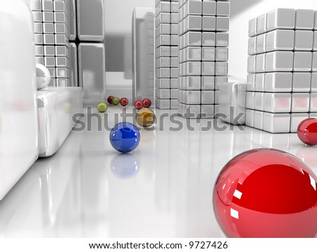 3d illustration, balls different colors and grey city - stock photo