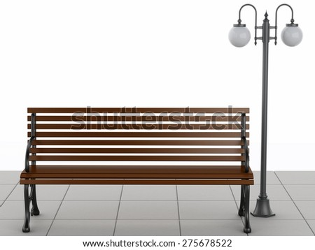3d illustration. Bench and street lamp. Isolated white background - stock photo