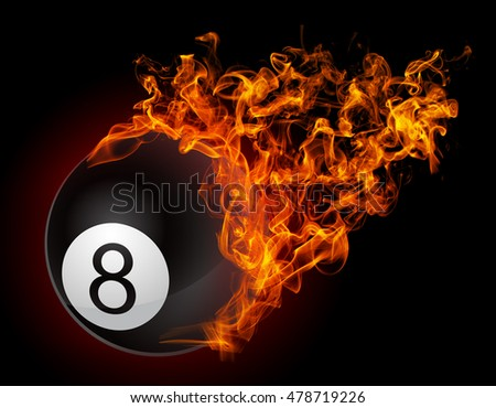 3D illustration. Billiard ball on fire flames isolated on black background. 3D image