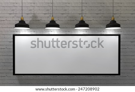 3d Illustration, blank frame poster in room with ceiling lamp - stock photo