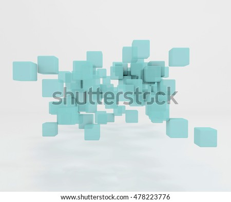3D illustration - Blue cubes abstract background