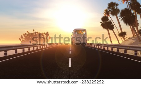 3d illustration bus in tourist area and sunset - stock photo