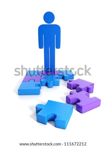3d Illustration: Business Concepts: Finding solutions, group puzzles and human model - stock photo