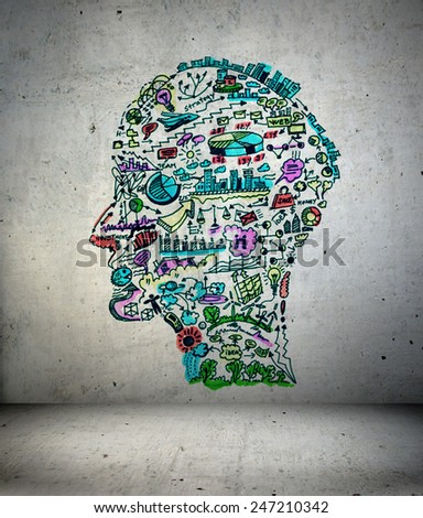 3d Illustration, Business drawing in shape of man head - stock photo