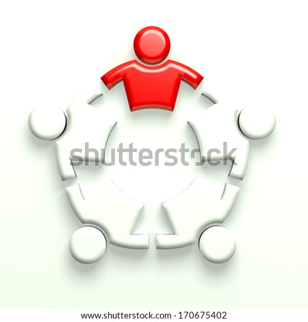 3D Illustration Business Icon Leader strong 5 - stock photo