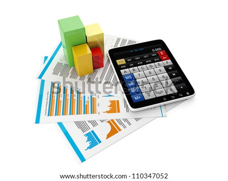 3d Illustration: Business technology. Tablet computer and group of business-sheet with the schedule