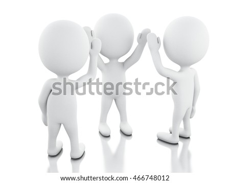3d illustration. Businessman are joining hands. teamwork concept. Isolated white background
