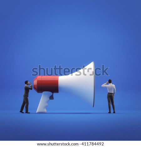 3D illustration, businessman shouting into megaphone, another person listens to him. Concept - communication and teamwork - stock photo