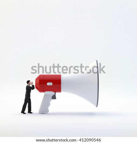 3D illustration, businessman shouting into megaphone. Concept - communication and teamwork