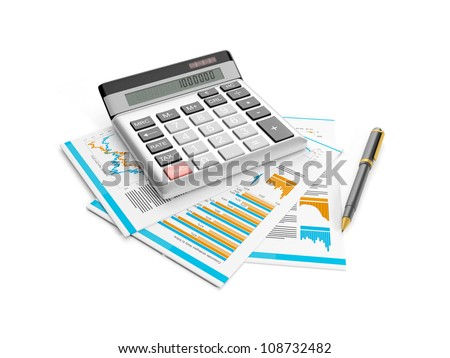 3d illustration: calculator, pen and papers. Accounting analysis of statistics