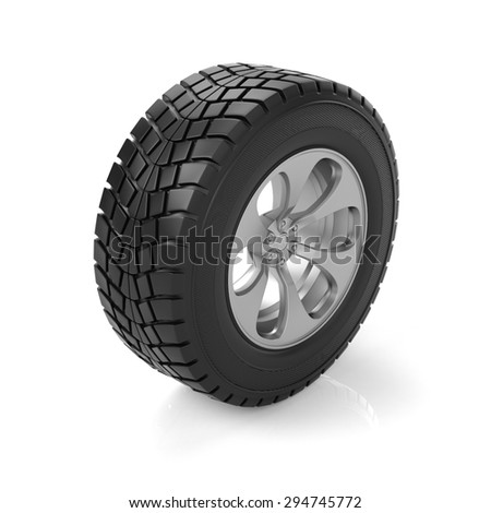3d illustration. Car wheel on a white background