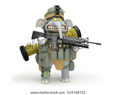 3d illustration Cartoon elephant infantryman at the post,3D rendering funny soldier