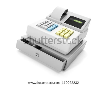 3d illustration: cash register close-up - stock photo