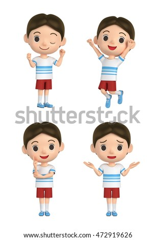 3D illustration character - The boy who wears a T-shirt and makes a pose.