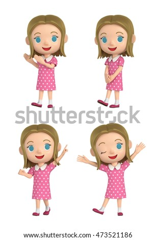 3D illustration character - The girl who wears a polka-dot dress and makes a pose.