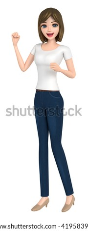 3D illustration character - The woman who wore a T-shirt of the victory pose. - stock photo