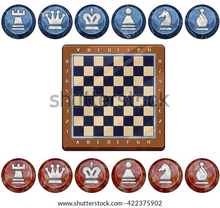 3D Illustration Chess and Board. Video Game Assets, Objects; Pieces isolated on White Background  - stock photo