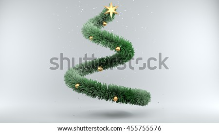 3d illustration Christmas Tree with Snow on gray Background - stock photo