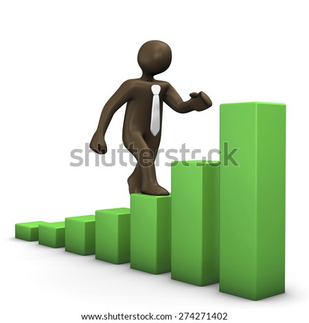 3D Illustration, comic figurine walking on green chart - stock photo