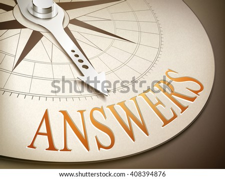 3d illustration compass needle pointing the word answers - stock photo