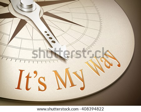 3d illustration compass needle pointing the word it's my way - stock photo