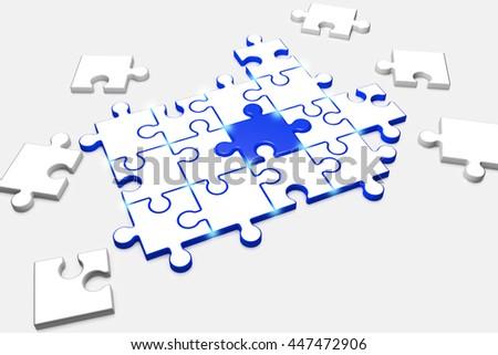3d illustration, composite puzzle symbolizes Team spirit - stock photo