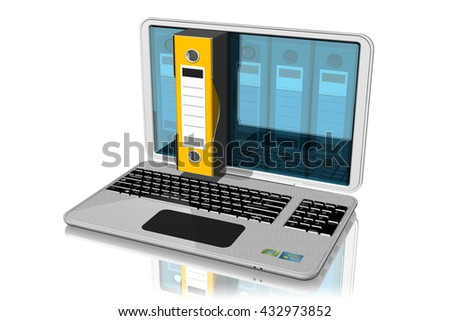 3D illustration. Computer with binders, folders, documents. One linked bin is selected and extends outside the computer. - stock photo