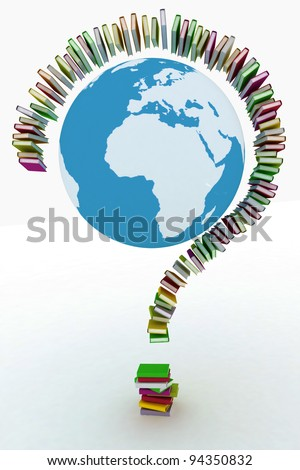 3d illustration concept book formed a question mark - stock photo