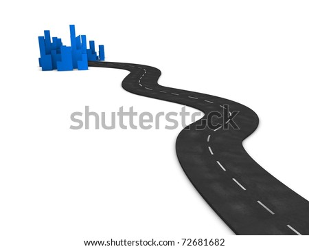 3d illustration, concept image Road to city, isolated on white background. - stock photo