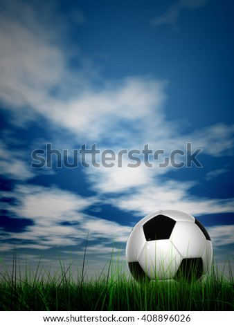 3D illustration concept or conceptual soccer ball in fresh green summer or spring field grass with a blue sky background - stock photo