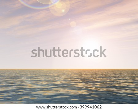 3D illustration concept or conceptual sunset or sunrise background with the sun close to horizon and sea or ocean for nature, romantic, dramatic, light, evening, morning, peace, atmosphere or weather - stock photo