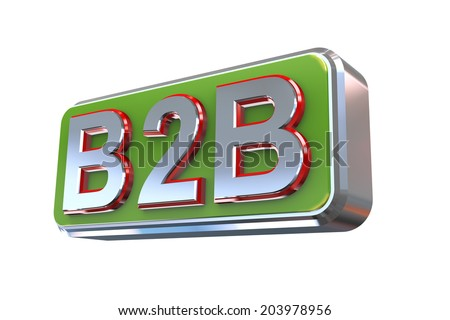 3d illustration concept presentation of b2b - business to business - stock photo