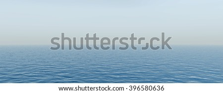 3D illustration concept sea or ocean water waves and sky cloudscape exotic or paradise background banner for nature, peace, summer, travel, tropical, tourism, environment, vacation or holiday seascape - stock photo