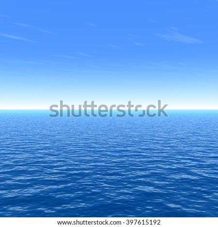 3D illustration concept sea or ocean water waves and sky cloudscape exotic or paradise background metaphor to nature, peace, summer, travel, tropical, tourism, environment, vacation holiday seascape