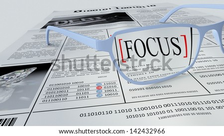 3D illustration concept to show importance to focus on the most relevant things despite of seeming disorder and amount of information to be processed, understood and assimilated. - stock photo