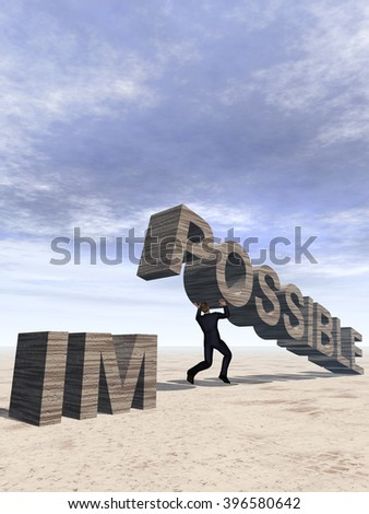 3D illustration conceptual 3D business man lifting an abstract stone impossible text on sky background for success, career, work, job, achievement, development, growth, progress, vision, possible - stock photo