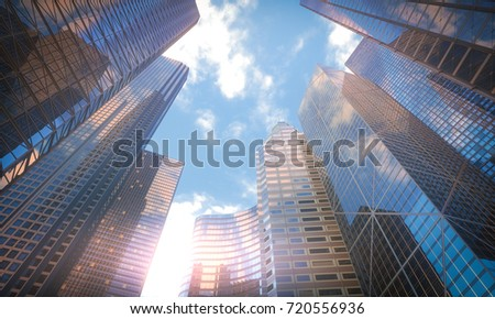 3D illustration. Conceptual image of buildings, perspective futuristic vision.