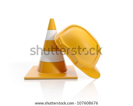 3d illustration: Construction fencing and construction helmet