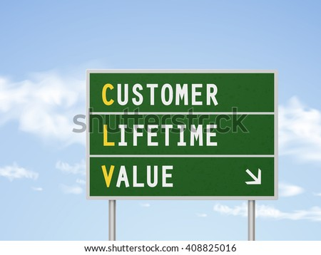 3d illustration customer lifetime value road sign isolated on blue sky