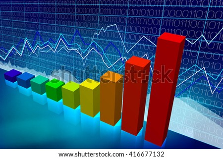 3D illustration/ 3D rendering - bar chart - great for topics like business growth/ prosperity etc.