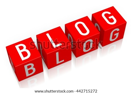 3D illustration/ 3D rendering - Blog - 3D cube word - stock photo