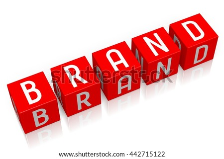 3D illustration/ 3D rendering - Brand - 3D cube word - stock photo