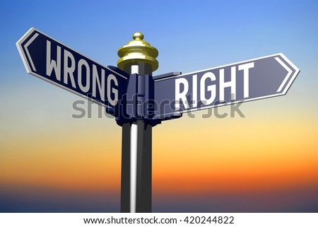 3D illustration/ 3D rendering - crossroads concept - right or wrong - stock photo