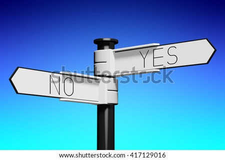3D illustration/ 3D rendering - crossroads concept - yes or no - stock photo