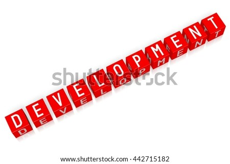 3D illustration/ 3D rendering - Development - 3D cube word - stock photo