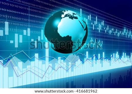3D illustration/ 3D rendering - Earth and business chart - great for topics like international business/ trade, finance etc. - stock photo