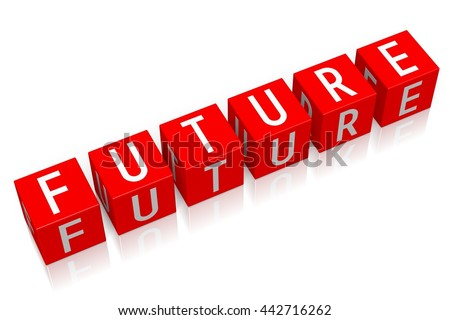 3D illustration/ 3D rendering - Future - 3D cube word - stock photo
