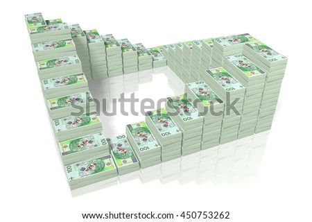 3D illustration/ 3D rendering - Money - 100 PLN (polish zloty).