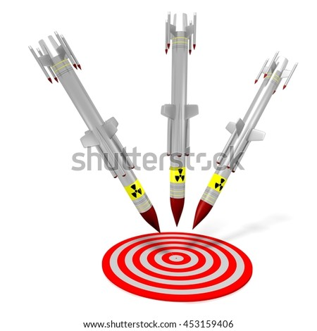 3D illustration/ 3D rendering - nuclear missiles - for topics like war, military arsenal etc. - stock photo